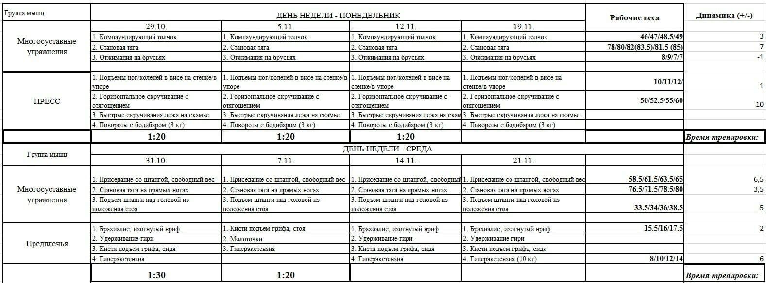 Программа тренировок на массу скачать pdf