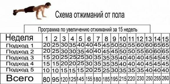 таблица отжиманий от пола 30 дней