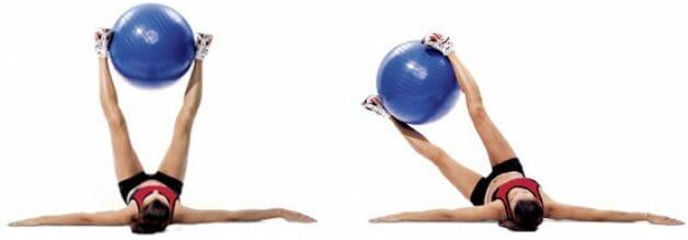 наклоны ног в строну с фитболом
