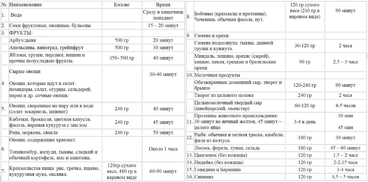 таблица времени переваривания пищи