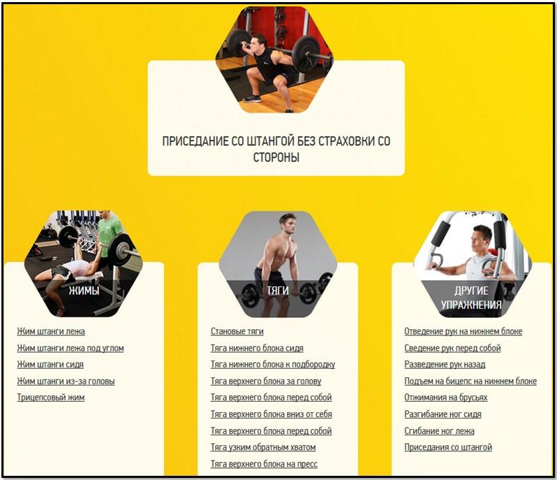 список упражнения выполняемых на тренажере С1