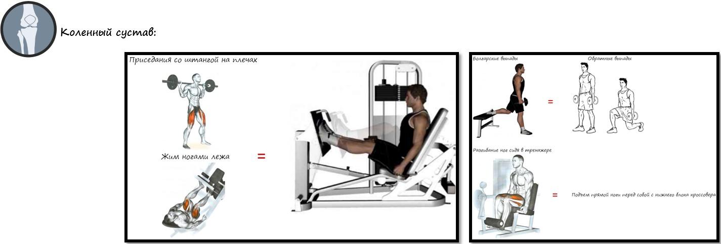 Альтернативы опасных упражнений на коленный сустав