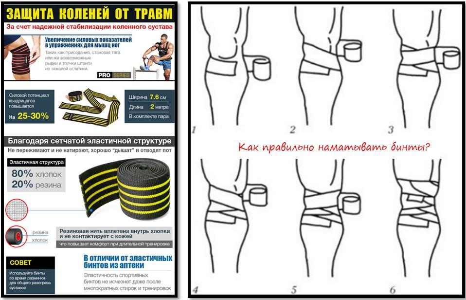 Защита коленей от травм. Как наматывать бинты