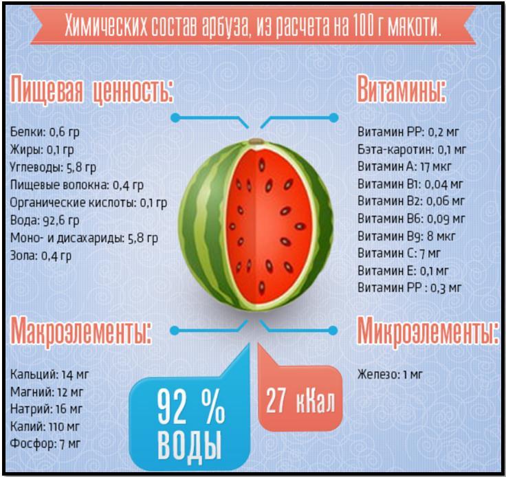 Чем полезен арбуз? Химический состав и пищевая ценность.