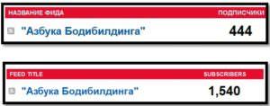 Количество подписчиков сайта Азбука Бодибилдинга с января по ноябрь 2015