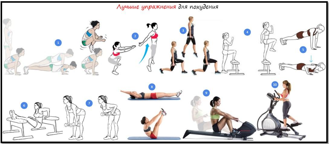 Лучшие упражнения для похудения и сброса веса