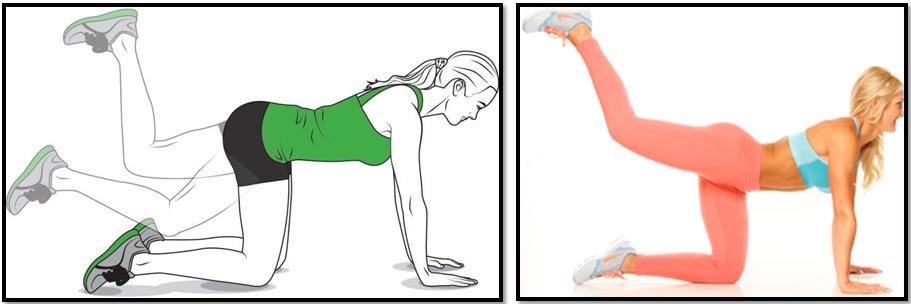 Отведение ноги назад с упором на руки. Техника выполнения.