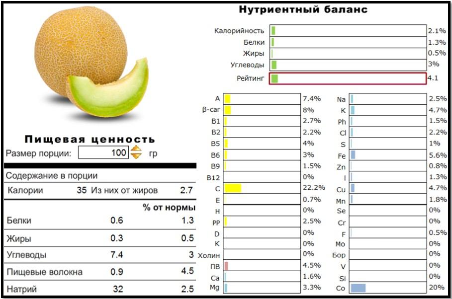Чем полезна дыня? Пищевая ценность и нутриентный баланс.