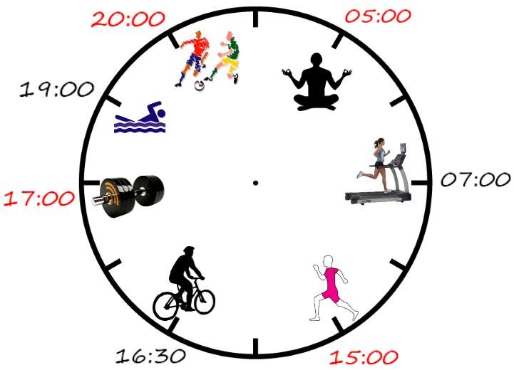 время для физической активности в течение дня