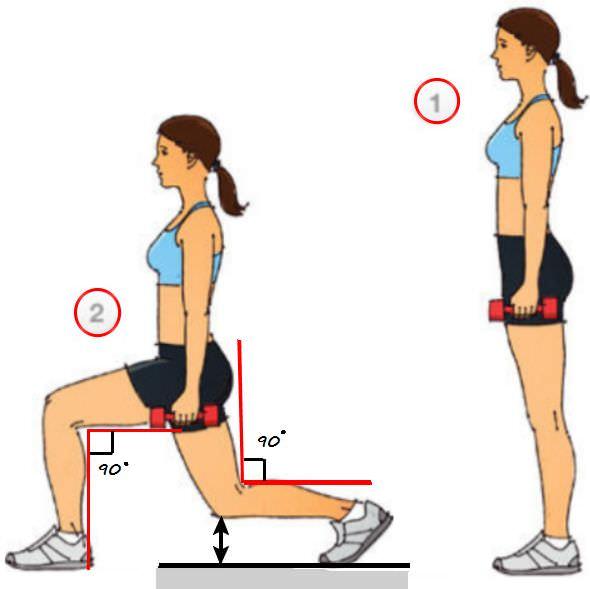 техника выполнения упражнения выпады с гантелями