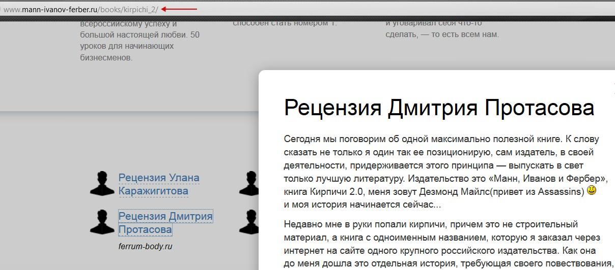 Отзыв на книгу Кирпичи, издательство Манн, Иванов и Фербер