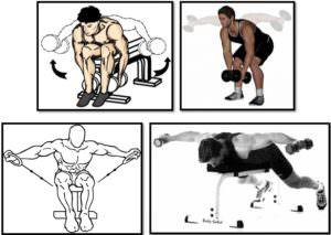 Разведение гантелей в наклоне, вариации упражнения
