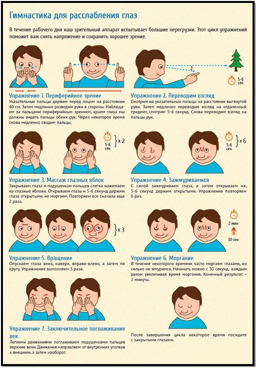 Зарядка для глаз упражнения