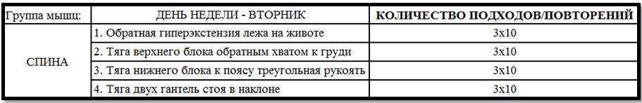 Программа тренировок спины №1 таблица