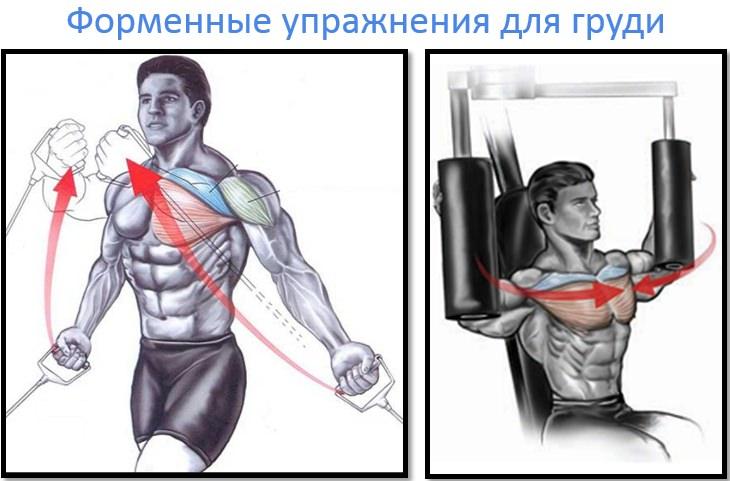 Сведение рук в кроссовере и в тренажере бабочка на грудные мышцы