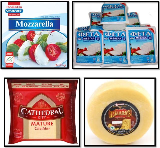 сыр моцарелла, фета, чеддер, пармезан