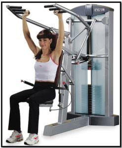 Упражнения для девушек в тренажерном зале, жим в Хаммере