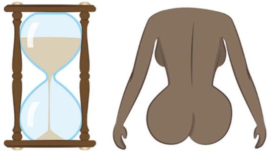 форма женских ягодиц, песочные часы
