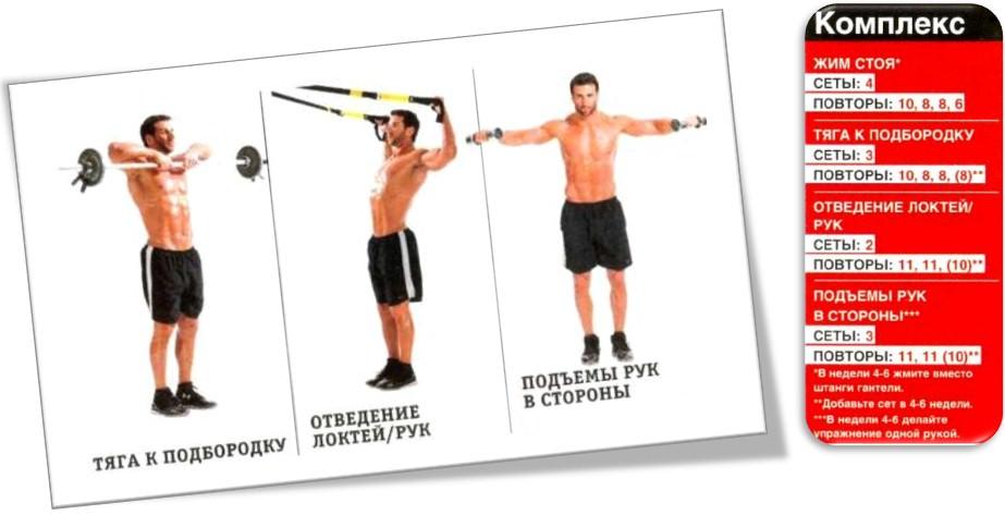 Как увеличить плечи, комплекс упражнений