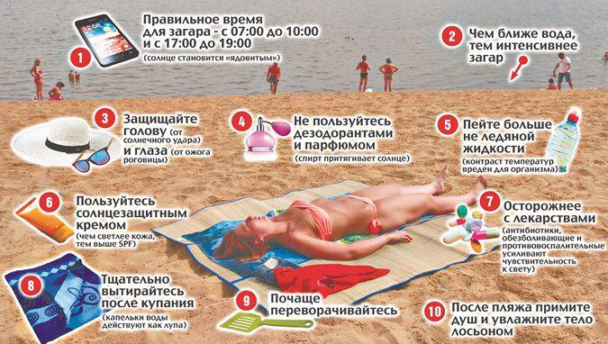 как правильно заограть на пляже памятка