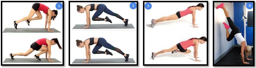 Упражнение скалолаз, вариации