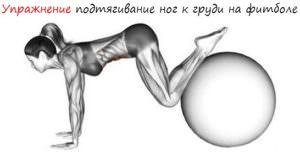 Упражнение подтягивание ног к груди на фитболе лого