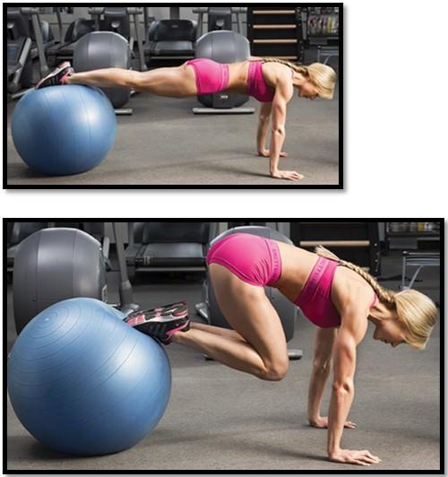 Упражнение подтягивание ног к груди на фитболе техника выполнения
