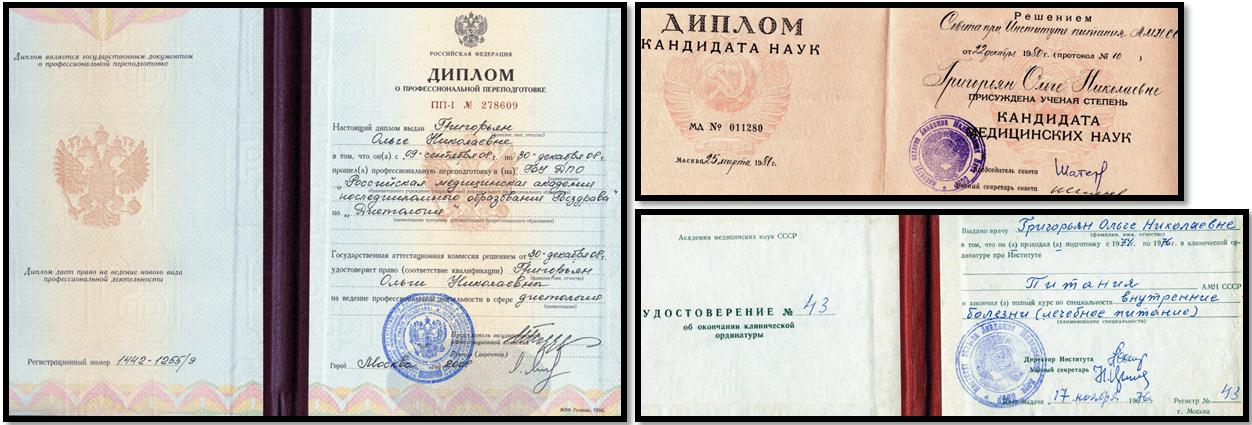 Гигорьян Ольга диетолог, документы для сайта Азбука Бодибилдинга