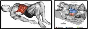 Касания пяток лежа попеременно мышцы