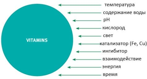 факторы влияющие на стабильность витаминов