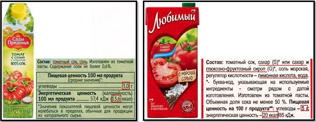томатный сок сравнение состава